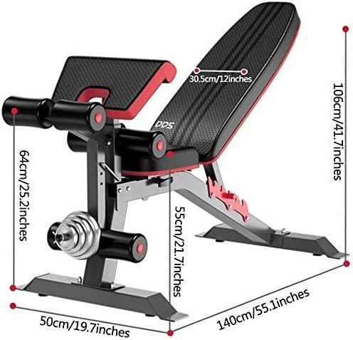 USTHOY アジャスタブルベンチプロフェッショナル重量ベンチ商業重量挙げチェア(ダンベルなし)ホームフィットネス機器フィットネスチェアロード (Color : Black, Size : 140x50x106cm)