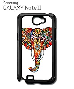 Elephant Ethnic Drawing Colourful Girl Mobile Cell Phone Case Samsung Note 2 Black