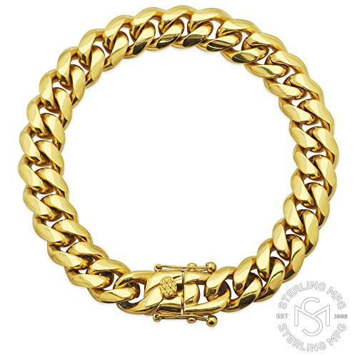 Premium 14KT Gold Plated Stainless Steel Heavy Solid Miami Cuban Link Chain. Secure Box Lock. 30'' Necklace or 8.5'', 9'' Bracelet by Sterling Manufacturers (Image #1)