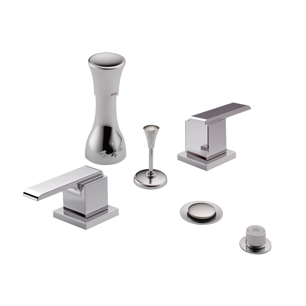 Chrome Chrome Delta Delta KBDAR-D-44-H267-CH Classic Bidet Fitting Kit Deck-Mounted Vertical Spray with Addison Metal Lever Handles