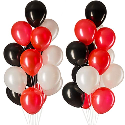 Mowo 12 Red Black White Balloons Latex Helium For Party Decorations 3 2g Pcs Pack Of 100 Pricepulse
