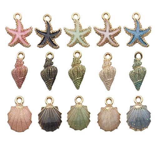 iloveDIYbeads 30pcs Assorted Gold Plated Enamel Ocean Starfish Conch Shell Charm Pendant for DIY Jewelry Making Necklace Bracelet Earring DIY Jewelry Accessories Charms M156 ()