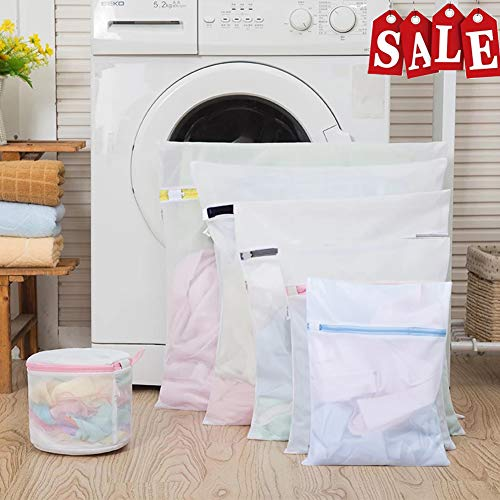 Mesh Laundry Bags,Laundry Bags,Lingerie Bags for Laundry,Washing Machine and Dryer Safe,Full Upgrade,Clothing Washing Bags for Baby Clothes, Bras, Hosiery, Lingerie,Socks,Travel,,Pack of 6(White)