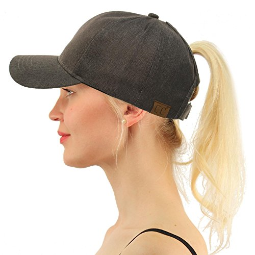 C.C Ponytail Messy Buns Trucker Ponycaps Plain Baseball Visor Cap Dad Hat Washed Gray ()