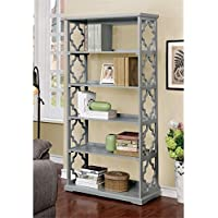 Furniture of America Vera Contemporary 5 Shelf Bookcase in Gray