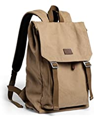 XINCADA Vintage Canvas Backpack Large School Bag Hiking Travel Backpack Rucksack Laptop Backpack
