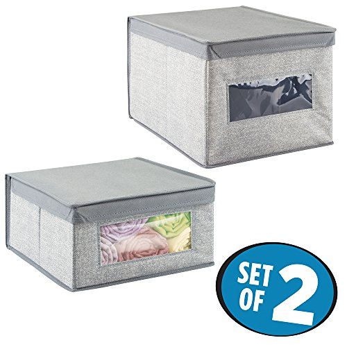 mDesign Closet Storage Organizer Bins for Blankets, Linens, Clothing, Shoes, Handbags - Set of 2, Gray
