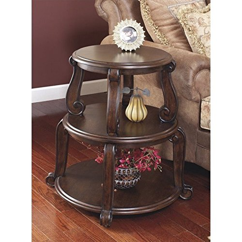 Ashley Furniture Signature Design - Brookfield Round End Table - 2 Shelves - Traditional - Circular - Dark - Brookfield Square