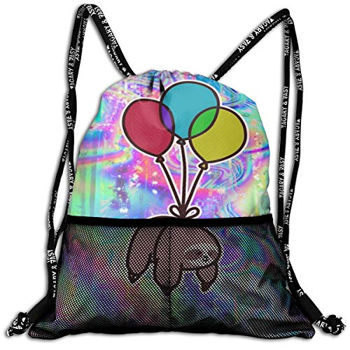 Girls & Boys Drawstring Backpack Theft Proof Lightweight Beam Backpack, Traveling Shoulder Bags - Balloon Sloth Rainbow Holographic Waterproof Backpack Soccer Basketball Bag -