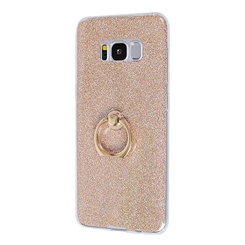 Galaxy S8 Funda con Anillo, Galaxy S8 Carcasa, Moon mood® Suave TPU + Papel Brillo Hybrid 2 en 1 con 360 Rotación Anillo Soporte Función Bling Glitter Sparkle Silicona Trasero Caso Cubierta Protectora Dorado