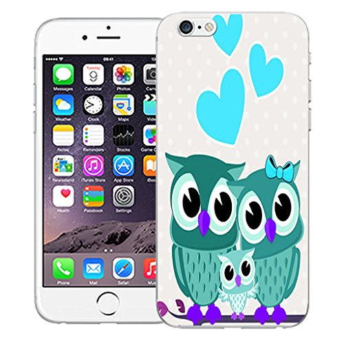 """Mobile Case Mate iPhone 6 4.7"""" Silicone Coque couverture case cover Pare-chocs + STYLET - Love Owls Blue pattern (SILICON)"""