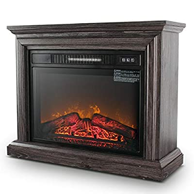 DELLA 1400W Embedded Electric Fireplace Insert Freestanding Heater w/Remote Control Glass View Log Flame, Wood Gray