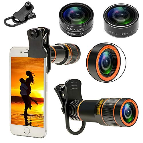 Phone Camera Lenses for Smartphone 4 in 1 Cell Phone Lens Kit 12X Telephoto Lens, 0.63X Wide Angle Lens & 15x Macro Lens, 198°Fisheye Lens, Eye Cup, Clip, Compatible with iPhone, Samsung Android Phone