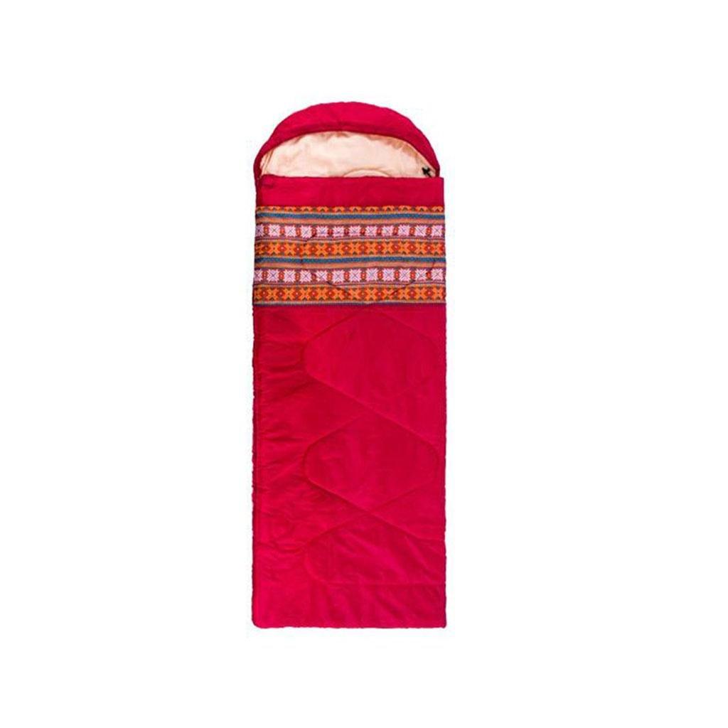 屋外の寝袋、女性の寝袋大人の屋内の肥厚暖かいオフィスの屋外冬の旅行キャンプキルトは、洗濯機で洗濯することができます B07B4VFC33 red 1.65kg