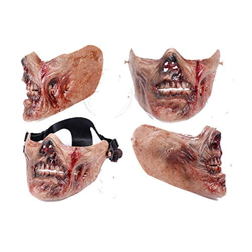 XSC Army Half-face Corpse Walking Dead Zombie Skull Airsoft Paintball Tactical Protect Mask, looks better with a nice helmetand a (Halloween Half Mask Face Paint)