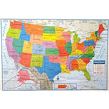 Amazon Com Usa Map For Kids Laminated United States Wall Chart