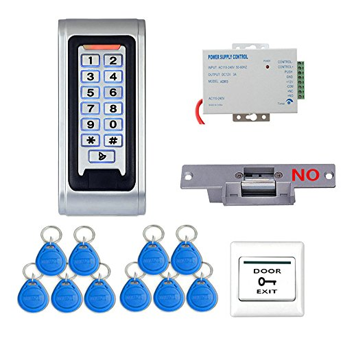 Mountainone Door Access Control System Controller Waterproof IP68 Metal Case RFID Reader Keypad + Electric Strike ()