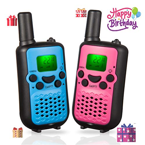 WES TAYIN Upgraded Walkie Talkies for Kids, Up to 5 Miles Long Range Walkie Talkies for Boys Girls, Toy Walkie Talkies for Little Hands Set of 2(Blue&Pink)