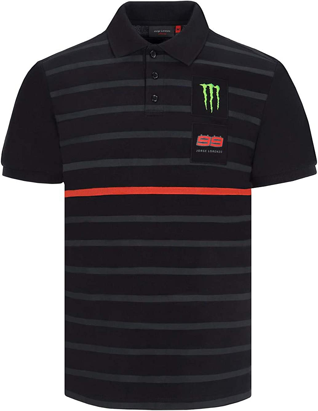 Polo Jorge Lorenzo 99 Moto GP Stripe Negro Oficial: Amazon.es ...