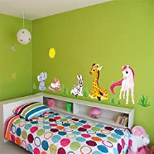 ufengke Cartoon Animals Elephant Giraffe Unicorn Wall Decals, Children's Room Nursery Removable Wall Stickers Murals