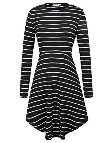 Kate Kasin Women's Striped A Line Dress Long Sleeves Pocket Casual Dresses Black/White S