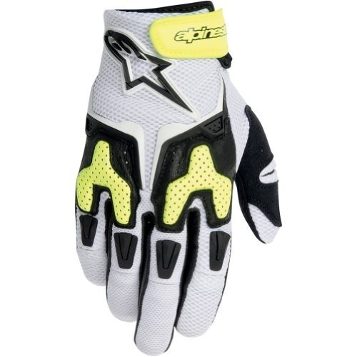 Alpinestars SMX-3 Air Men's Leather/Mesh On-Road Racing Motorcycle Gloves - White/Black/Yellow / Medium