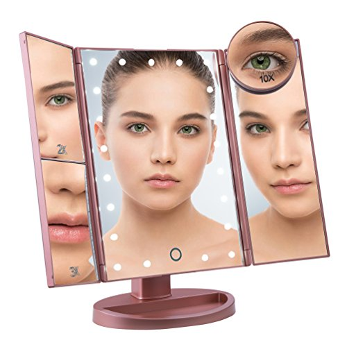 LED Lighted Vanity Makeup Mirror, Tri-Fold Portable Cosmetic Light Up Mirror, 2X 3X Magnification,10X Magnifying Bonus Mirror,Touch Screen,180 Rotation, Battery USB Power- Rosegold Mother s Day Gift