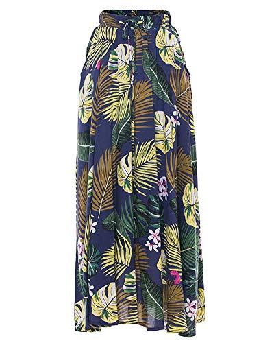 Longueur Jupes Bleu Marine Taille Jupe Floral Imprime lastique Femmes SxagAqYwXY