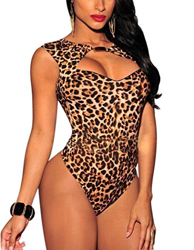 Leopard Bodysuit (Aro Lora Women's Bodysuit Bodycon Jumpsuit Overalls Neck Cut out Front Small Leopard)