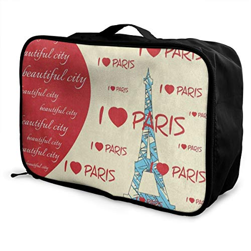Travel Bags Fashion Red Heart Eiffel Tower Portable for sale  Delivered anywhere in Canada