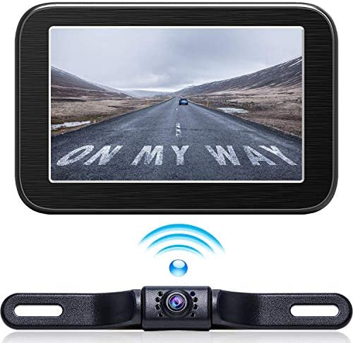 Wireless Backup Camera with Monitor System 5 LCD Wireless Monitor Rearview Revering Rear View Back up Camera for Backing Parking Small Car 12V Only eRapta