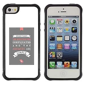 All-Round híbrido Heavy Duty de goma duro caso cubierta protectora Accesorio Generación-II BY RAYDREAMMM - Apple iPhone 5 / 5S - White Grey Poster Love Inspiring Modern