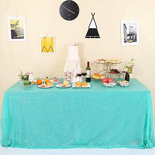 GFCC Sparkle Aqua Green Sequin Tablecloth 60