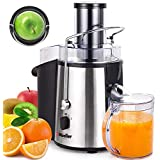 """Mueller Austria Juicer Ultra 1100W Power, Easy Clean Extractor Press Centrifugal Juicing Machine, Wide 3"""" Feed Chute for Whole Fruit Vegetable, Anti-drip, High Quality, Large, Silver"""