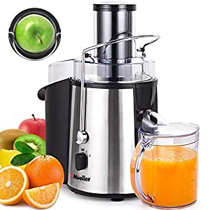 Mueller Austria Juicer Ultra 1100W Power, Easy Clean Extractor Press Centrifugal Juicing Machine, Wide 3″ Feed Chute for Whole Fruit Vegetable, Anti-drip, High Quality, Large, Silver