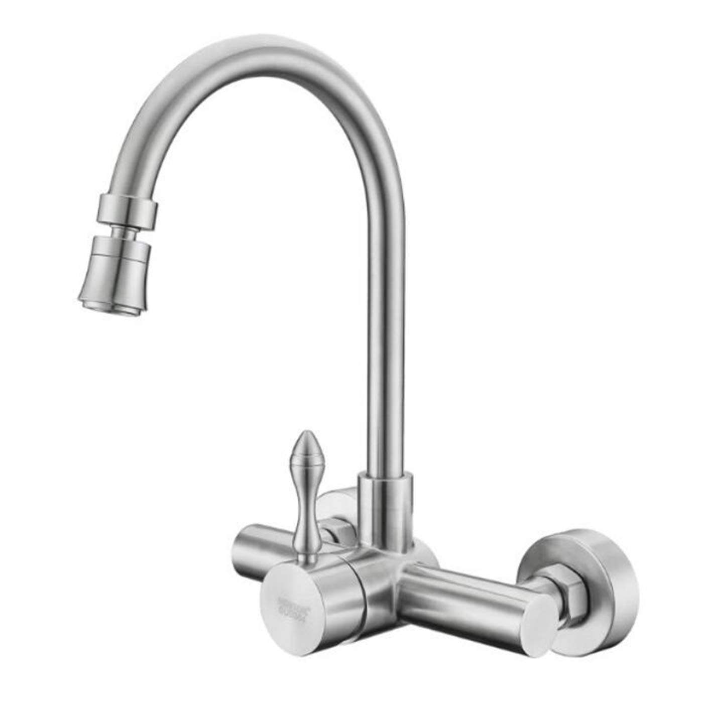 304 Stainless Steel Into Wall Kitchen Cold Hot Water Faucet Wash Basin Water Trough Washing Pool Balcony Rotatable Tap,B