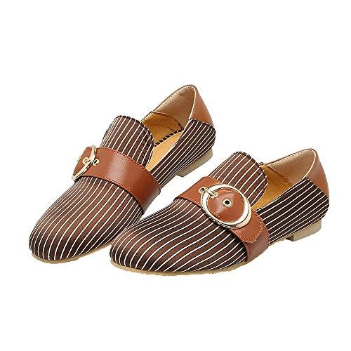 AgooLar Damen Streifen Niedriger Absatz Schließen Zehe Ziehen auf Pumps Schuhe Hellbraun