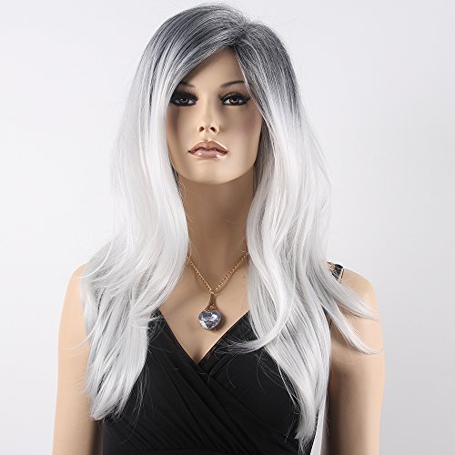 [Long Straigh Wavy Hair Black Root Ombre White Wig Synthetic Hair Wigs for Women Cosplay Party Costume (Black Root White] (Glinda Halloween Costumes)