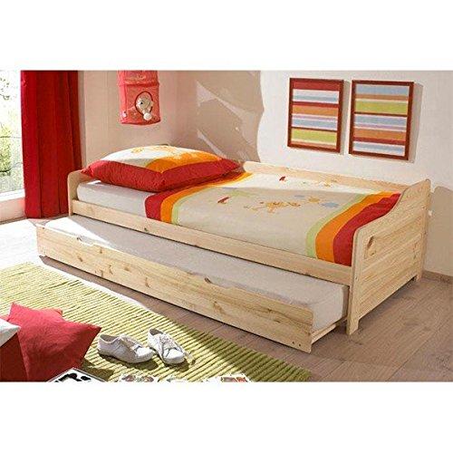 Funktionsbett 90*200 cm Kiefer massiv natur Gästebett Gästeliege Kinderbett Jugendliege Tandembett Massivholzbett Kinderzimmer Bett