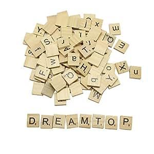 DreamTop 100 x SCRABBLE de madera letras alfabeto