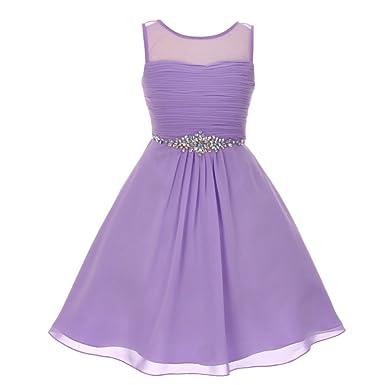 85f085ca6 Amazon.com  Big Girls Lilac Glitter Rhinestone Chiffon Flower Girl ...