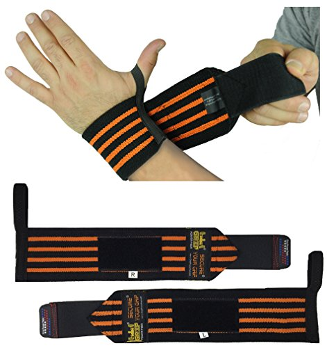 "Deluxe Wrist Wraps 18"" Long (1 Pair/2 Wraps) for WEIGHT LIFTING TRAINING WRIST SUPPORT COTTON WRAPS GYM BANDAGE STRAPS. For Men & Women Premium Quality 1 Year Warranty!"