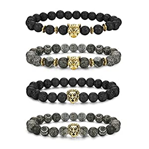 LOLIAS 4 Pcs Lava Rock Bead Bracelet for Men Leopard Lion bracelet Set Adjustable 8MM Beads SL