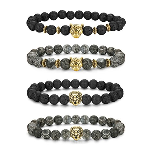 LOLIAS 4 Pcs Lava Rock Bead Bracelet for Men Leopard Lion bracelet Set Adjustable 8MM Beads (Head Mens Bracelets)