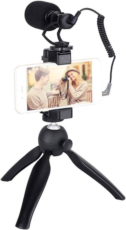 TOPTOO CoMica CVM-VM10-K2 Kit de Plataforma de Video para Smartphone con Escopeta direccional cardioide Video Micrófono Soporte para teléfono Mini trípode para iPhone Huawei Smartphones de 54-95 mm: Amazon.es: Electrónica