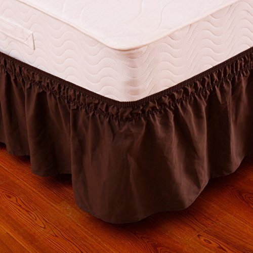 Marketworldcup Coffee Queen\King Size Elastic Bed Wrap Ruffle Bed Skirt Around Bed 14