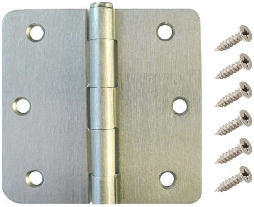 W2Ent 3.5 x 3.5 Satin Nickel Door Hinges with 1//4 Radius Corners Brushed Nickel Pack of 21