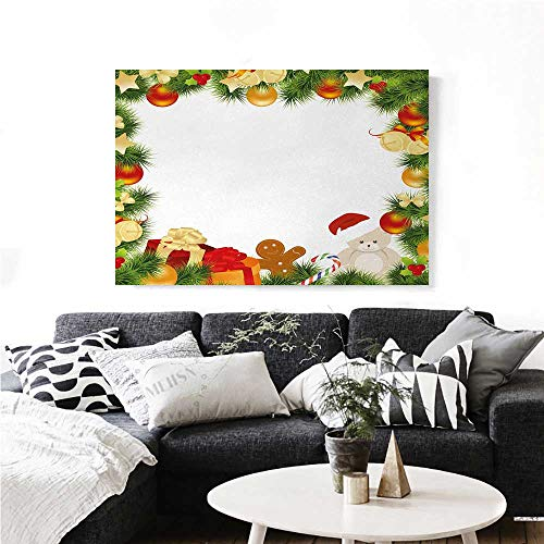homehot Kids Christmas Wall Paintings Garland Frame Design with Evergreen Fir Tree Bear Toy and Gingerbread Man Print On Canvas for Wall Decor 24