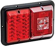 Bragman LED Recessed Horizontal Mount Double Taillight (Red, Incandescent Backup with Black Base)