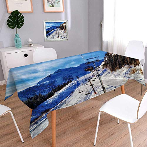 PINAFORE HOME 176% Cotton, Eco-Friendly and Safe ski Resort on The top of The Hill Linen Cotton Tablecloths for Kitchen Room/W54 x L102 Inch